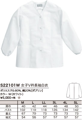 ポリエステル80%、綿20%[ポプリン]、カラー W(ホワイト)、¥5,000 +税 ★